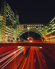 traffic passing by The Hague's modern architecture at night (codeconet) Tags: road holland netherlands architecture modern night office highway traffic motorway dusk thenetherlands officebuilding denhaag illuminated thehague buidling zuidholland nationalenederlanden nld utrechtsebaan