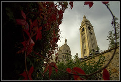 sacre Coeur at fall (RTarluche) Tags: autumn red paris france building fall church leaves yellow architecture rouge basilica postcard montmartre coeur sacre eglise basilique