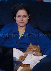 Woman and her Cat relaxing in chair with laptop computer (Carl's Photography) Tags: blue people orange vertical cat computer relax iso200 nikon sitting laptop content towel lap together becky sit relaxed f40 85mmf14d d80 nikkor85mmf14d 1100sec nikond80 1100secatf40 beckythomassonchristensen gettyartistpickspending