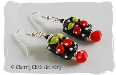 Very Cherry Earrings (Cherry Chick Jewelry) Tags: cherryearrings beadedearrings maryengelbreitjewelry cherrylampwork cherrychickjewelry