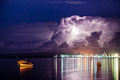 Australia (john white photos) Tags: city sea storm reflection water weather clouds stars boats wooden still glow australian australia calm wharf lightning southaustralia portlincoln eyrepeninsula bostonbay