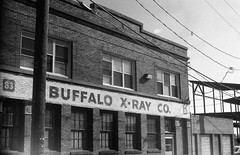 Buffalo X-Ray CO. (Photofidelity) Tags: winter blackandwhite building film 35mm streetphotography lightleaks photowalk buffalony filmcamera selfprocessed oldcamera