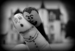 I vant to bite your finger... (stu.mandry) Tags: bw white black halloween monster mono funny humorous hand vampire finger victim humor creative humour dracula horror vignette humourous