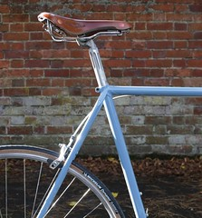 A Raleigh Reborn (I am Cheapskate) Tags: blue autumn leaves leather bike bicycle bar vintage cycling raleigh retro biscuit tape swift michelin velo tyres brooks quadra fleming drivinggloves armourtex