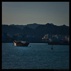 MUTTRAH IN BLUE (Sultanate of Oman) (Denis F...) Tags: ocean blue sea sun mer mountains port montagne square boat waves harbour fort middleeast bleu orient bateau oman vagues fortress muscat gcc muttrah mattrah carre moyen  sultanate mascate