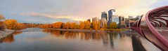 Prince's island Panorama (John in Calgary) Tags: city trees sunset sky urban canada reflection calgary fall clouds canon landscape alberta calatrava princesisland bowriver peacebridge jpandersenimages