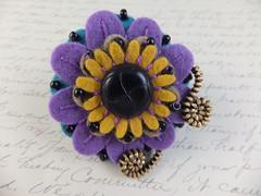 Small Flower Brooch (MsLolaCreates) Tags: flower thread beads pin purple embroidery brooch craft sew felt button zipper mslolacreates