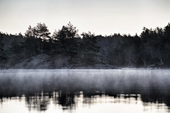 Cold morning (cablefreak) Tags: morning lake cold nature fog kayak sweden smoke paddling svartedalen