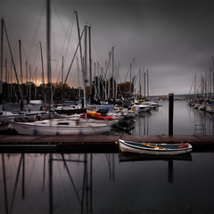 Dory (Alan Drake) Tags: ocean sea sky colour water rain vancouver clouds creek marina square boat dock nikon wide falsecreek dory false d7000