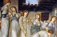 Burne-Jones, The Golden Stairs, detail with sky