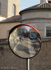 La fermata del tram (Claudia Celli Simi) Tags: italy rome roma italia tram lazio cerchio specchio riflesso flaminio rotaie fermata mezzoditrasporto