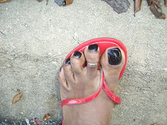 My feet - Outside shots (hyellow) Tags: black sexy feet outside foot toes toe sandals polish ring flip heels flops pedicure wedge