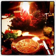 Steak soup, guacamole, chips, & bread candle l...