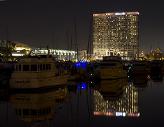 Hilton Hotel - Seaport Village (San Diego Shooter) Tags: longexposure light night hotel cityscape sandiego hilton hotels downtownsandiego sandiegoatnight sandiegocityscape hiltonhoteldowntownsandiego hiltonhotelsandiego