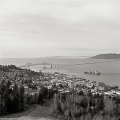 Astoria, Oregon (austin granger) Tags: film oregon square columbiariver astoria containership astoriacolumn astoriabridge gf670 austingranger