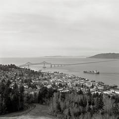 Astoria, Oregon (austin granger) Tags: film oregon square columbiariver astoria containership astoriacolumn astoriabridge gf670 austingranger