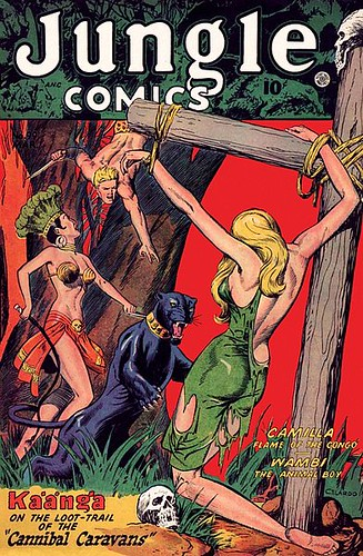 comics skulls legs fear captured rope loot comicbooks hotties camilla panther tortured tarzan sexywomen 1964 cannibal cannibalism publicdomain hostage copyrightexpired headress prettyfeet animalboy wambi americancomics sexyfemales dangeroussituation sexyillustrations junglecomics metalbras rippedandtorn illustratedcomics ladywithwhip perilsofjungle cannibalcaravans johncelardo