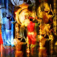 Drummers Drumming (Lemon~art) Tags: drummer drum oriental music dance colour photomontage