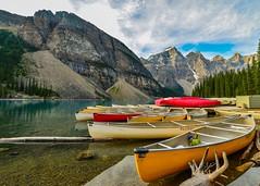 Boats at Lake Moraine (ShutterBugWithGlasses) Tags: canadianrockies alberta nikond610 canada banff lakemoraine