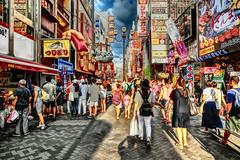 busy street, Dotonbori, Osaka (jtabn99) Tags: 20160818 dotonbori namba osaka japan nippon nihon busy crowded dusk street people tour     casiocamera hdrartmode