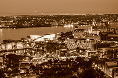 Liverpool By Night (Czermak Photography) Tags: liverpool england uk city night light lights monochrome sepia docks architecture museum building royal landmarks pretty river skyline water waterfront outdoor flickr