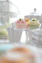 cupcakes (*tmk*) Tags: cupcake pink green white tabletop styling summer sweet soft bokeh light d5100 nikon nikkor tea