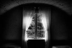 The window (newfilm.dk) Tags: forest blackandwhite bw old oldtimes light curtains bedroom