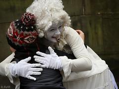 White embrace (Ramireziblog) Tags: white lady woman dress edinburgh streetartist embrace omhelzing boy jongen wig pruik
