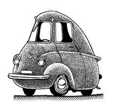 Micro car? (Don Moyer) Tags: car auto automobile vehicle ink drawing moleskine notebook moyer donmoyer brushpen