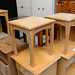 Low beech square lamp table
