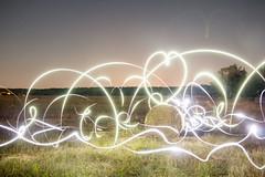Night painted with light (zmonarski.m) Tags: night holidays canon 70d longexposure long exposure light lowlightphotography lightpainting painting torch phone huawei love heart field hay bale teamwork