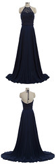 Homecoming Dress (provencelavender) Tags: elegant aline halter sweep train navy blue chiffon homecoming dress with beading
