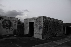 IMG_1465 (AustinBoyes) Tags: abandoned building desolate decaying dog track racetrack race dogs black white old desert phoenix graffiti destroyed landscape