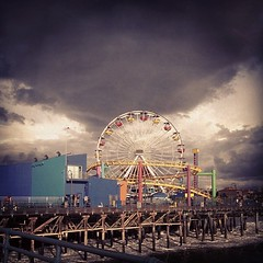 Storm clouds over Santa Monica Pier (MiniMax!) Tags: santa ca storm wheel clouds square pier ferris socal monica squareformat sutro rollercoaster iphone5 iphoneography instagramapp uploaded:by=instagram foursquare:venue=47383924f964a520444c1fe3