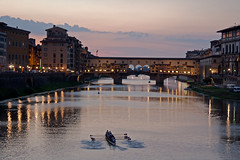Rowing on the Arno (StewieD) Tags: bridge italy reflection water river florence italia ponte tuscany firenze arno toscana riverarno arnoriver pontevechhio