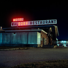 (patrickjoust) Tags: usa color abandoned 120 6x6 mamiya tlr film sign night analog america dark square lens restaurant town us reflex md focus long exposure neon mechanical kodak empty united small release tripod north waldorf patrick twin maryland motel cable s vacant after medium format 100 states manual 80 joust f28 estados 80mm ektar c41 unidos c330 sekor autaut patrickjoust