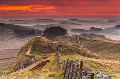 Housteads dawn (Mike Ridley.) Tags: england colour misty sunrise landscape photography rocks northumberland hadrianswall housteads bardonmill northeastengland leefilters mikeridley canonef70200f4lisusm canon5dmkll fellwalker1