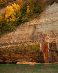 Pictured Rocks - Michigan U.P. (bechtelsf) Tags: autumn fall leaves fallcolor michigan upperpeninsula 2012 secondplace picturedrocksnationallakeshore kyack 2ndplace winningphoto gerlachnaturephoto hancockparksphotocontest