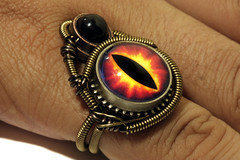 Steampunk Jewelry - RING - Red Fire Dragon eye and black onyx (Catherinette Rings Steampunk) Tags: red eye art fashion fire dragon jewelry ring steampunk