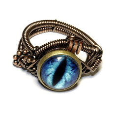 Steampunk Jewelry - Ring - Frost Blue Dragon (Catherinette Rings Steampunk) Tags: blue eye art fashion dragon jewelry ring steampunk