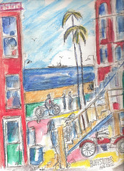 WATERCOLOR WITH PEN AND INK, RETRO SOUTH BAY BEACHFRONT (roberthuffstutter) Tags: style tags expressionism impressionism staircases beachcities huffstutter 1960scalifornia watercolorsbyhuffstutter originalsavailable artmarketusa venicebeach1960 hermosabeach1960 alleysofsouthbay redendobeachalleys alleywaysofcalifornia rentprotectionareas1960s beachfrontapts1960 southbayresidents clapboardaptssouthbay manhattanbeachalleys beatnikdayssocal southbaywatercolors southbayscenes signedcopiesavailable watercolorsofsouthbay strandwatercolors huffstutterssouthbayart