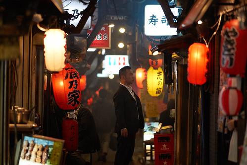 Indecisive Salaryman (torode) street businessman night tokyo alley shinjuku candid lanterns yakitori salaryman a99 sal135f18z
