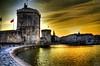 """La Rochelle harbour entrance (Tony Shertila) Tags: sunset france weather architecture clouds port golden la europe day cloudy historic hdr habour charentemaritime poitoucharentes """"vieux port"""" 100commentgroup mygearandme rochelle"""""""
