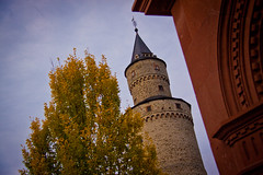 Witch's Tower in Autumn - Idstein, Germany (ChrisGoldNY) Tags: travel autumn trees fall leaves yellow architecture buildings germany deutschland europa europe european forsale towers eu historic viajes german posters albumcover alemania historical bookcover archeology vacations bookcovers albumcovers deutsche gridskipper idstein witchstower deutscheland jaunted chrisgoldny chrisgoldberg chrisgoldphoto