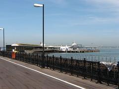 Ryde Pier, Isle of Wight HFF (stepheneverettuk) Tags: blue sea sky canon fence coast unitedkingdom hampshire lampost isleofwight railings rydepier hff s3is steveeverett happyfencefriday timberplanks