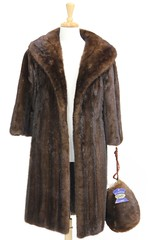 L28. Brown Mink Coat and Matching Muff