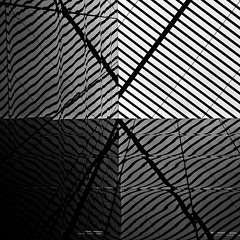 (morbs06) Tags: urban bw distortion abstract london glass lines facade reflections square pattern graphic geometry stripes diagonal cladding morelondon louvers fosterpartners