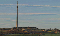 Emley Moor Mast (littlestschnauzer) Tags: uk blue england sky west tower clouds rural concrete countryside tv high nikon village arty view artistic yorkshire farming scenic landmark farmland structure clear fields tall mast streaks moor signal transmitter emley transmits d5000 elementsorganizer11