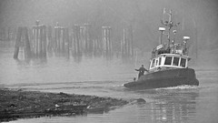 B & W Version - Dolphin Point Building A String Of Booms In The Fog (rog45) Tags: canada fog canon bc tugboat tug fraserriver haney rog45 dolphinpoint sx220hs