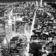 Manhattan at Night (Adam Garelick) Tags: city nyc newyorkcity winter blackandwhite 120 6x6 film monochrome architecture night mediumformat manhattan midtown empirestatebuilding 100 fujineopanacros 2013 ilfordilfosol3 238m2